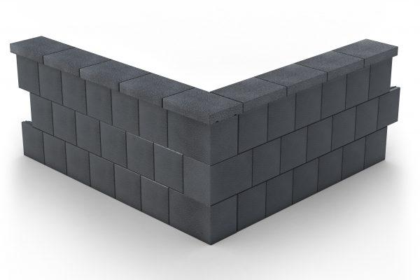 Muurikivi Sileä nurkka carbon black