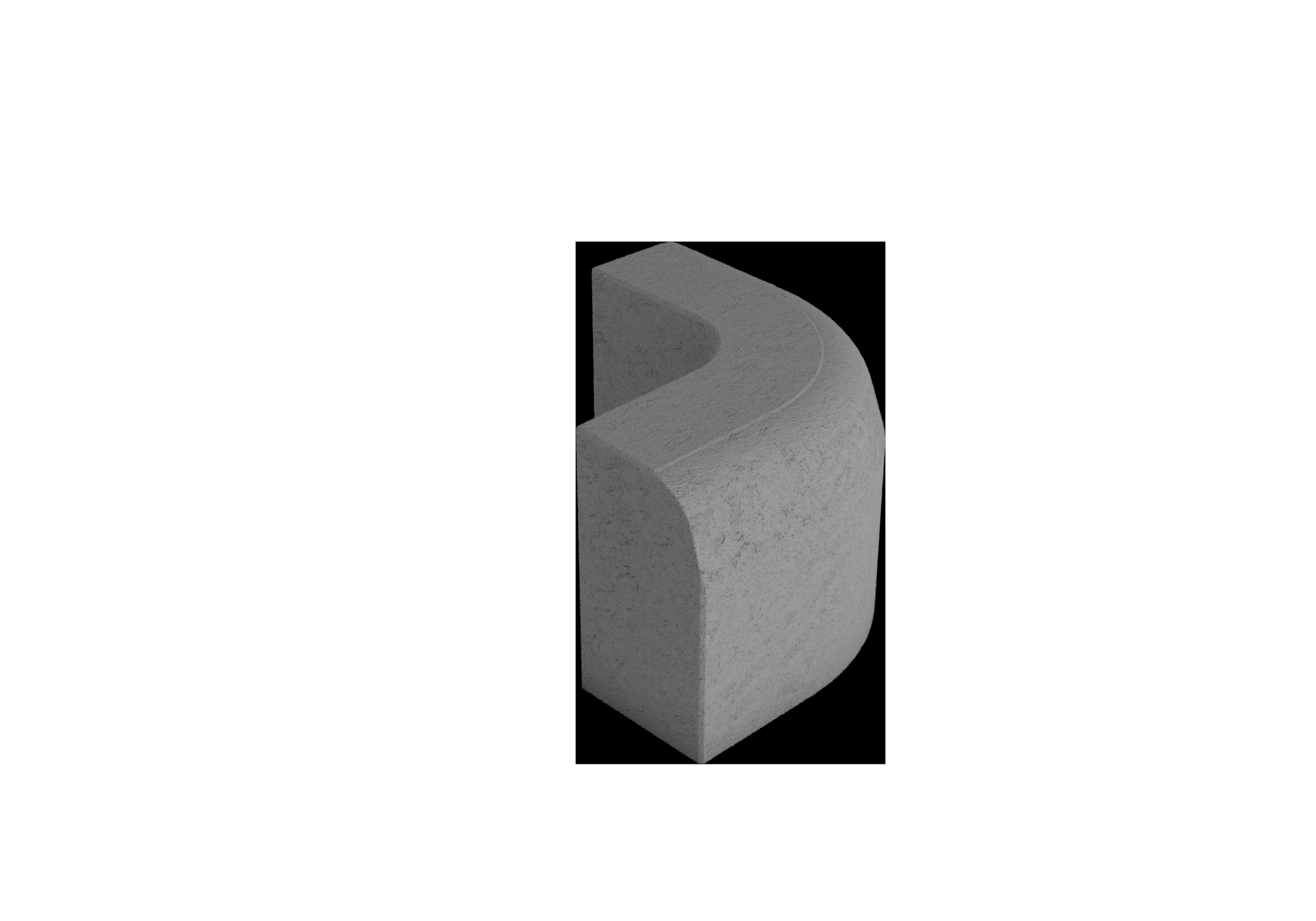Upotettava reunakivi H12 R250 kupera viisteellinen