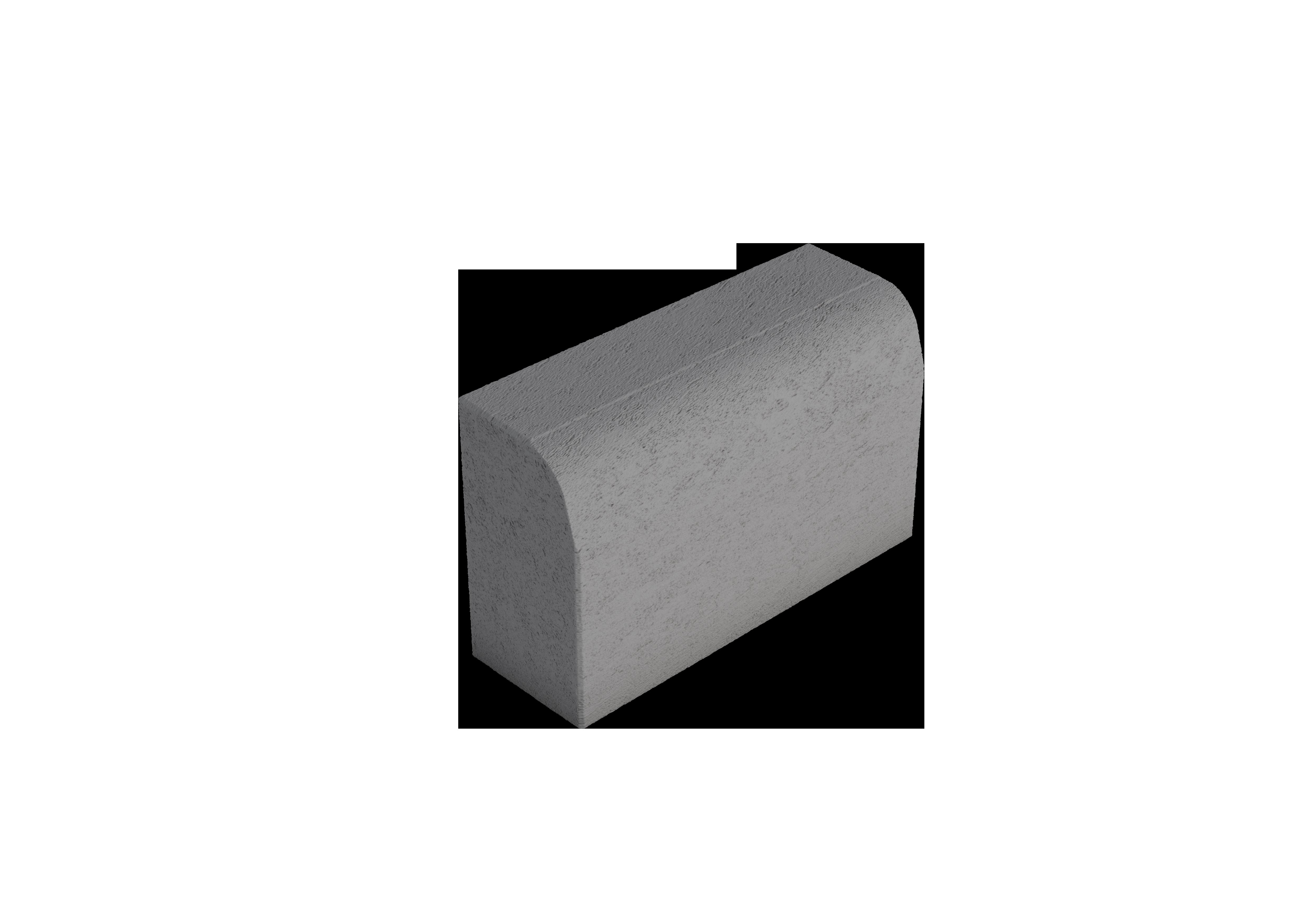 Upotettava reunakivi H2 suora 05 kupera viisteellinen