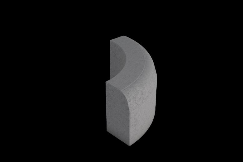 Upotettava reunakivi H8 R500 kupera viisteellinen